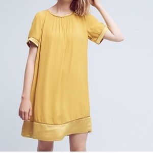 Anthropologie Maeve Verdet Yellow Swing Dress Sz S